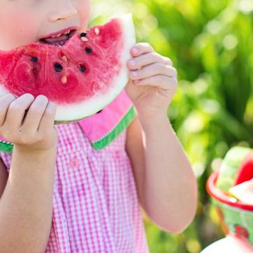 girl in pink dress eating watermelon slice