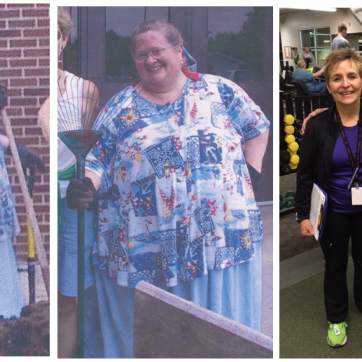 three photos showing weight loss transformation of a woman